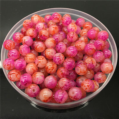 New 8mm 30Pcs Double Colors Glass Round Pearl Loose Beads Jewelry Making #8m62
