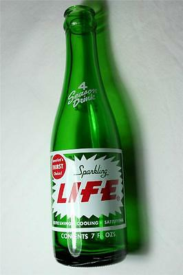 Collectors Beautiful 1968 Sparkling Life 7oz ACL Soda Pop Bottle Near Mint/Mint