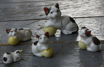 Vintage China Family of 5 Cat & Kittens Miniature Japan Figures Playing Ball