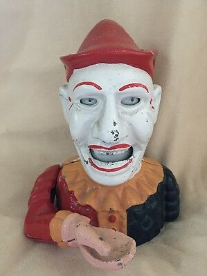 Vintage Cast Iron Mechanical Bank Metal Coin Circus Clown Head penny