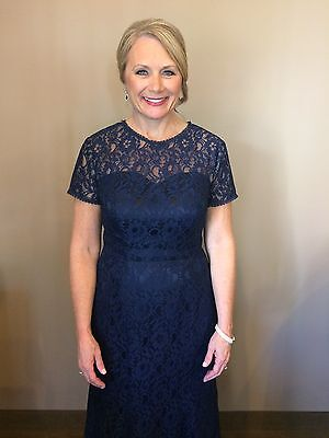 Formal Navy lace mother of the bride dress SZ 10-12 -see photos