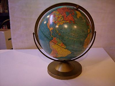 "RARE VINTAGE ARTICULATING CRAM'S IMPERIAL WORLD GLOBE 12"" w/ METAL BASE - USSR"