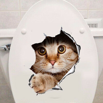 Removable DIY 3D Cat Bathroom Toilet Wall Stickers PVC Decal Mural Home Decor UK