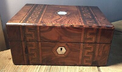 Antique Victorian Sewing Jewelry Box With Marquetry & Mother Of Pearl Inlay