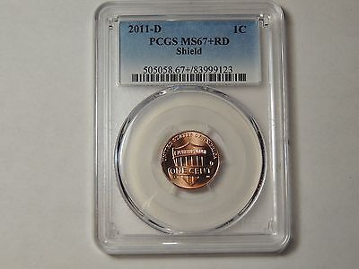 2011 D PCGS MS67+  RD Shield Lincoln Penny