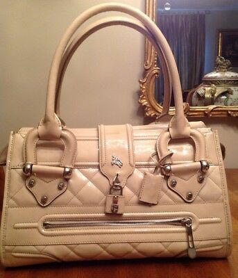 Burberry Beige Pattent Leather Quilted Large Handbag . Made in Italy RP$1965