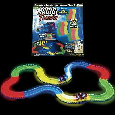 Magic Tracks car The Amazing Racetrack that Can Bend Flex Glow 11FT FREE SHIP  ~