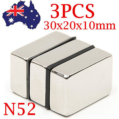 3Pcs N52 Neodymium Magnets Super Strong Rare Earth Magic Block Cube 30x20x10mm