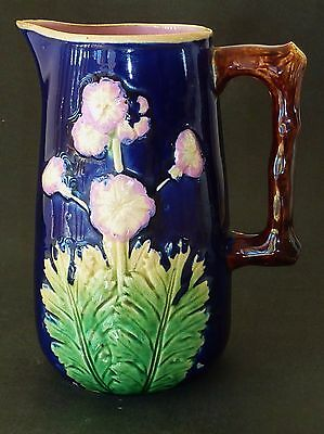 ANTIQUE Victorian MAJOLICA pottery ARTS & CRAFTS JUG primulas COBALT BLUE branch