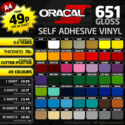 A4 Sheet - Oracal 651 Polymeric Self Adhesive Gloss Vinyl - Cameo / Cricut