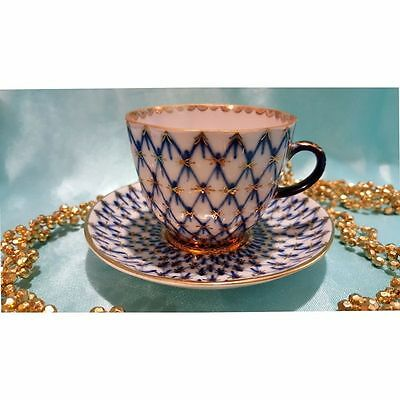 Lomonosov coffee set of 2 pieces cup and saucer cobalt net Russian Porcelain