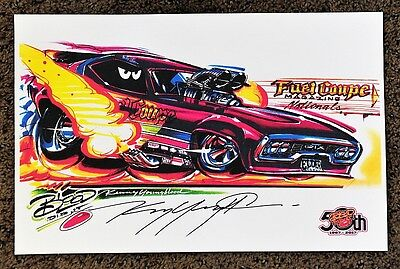 50Th Kenny Youngblood Signed Fuel Coupe Magazine Nitro Funny Car Cartoon Print