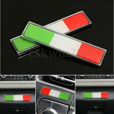 2 PZ 3D ADESIVO STICKERS BANDIERA ITALIA IN METALLO PER Fiat AUTO MOTO 58MMx14MM