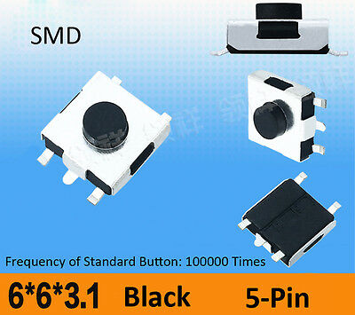 6x6x3.1mm SMD SMT SPST Momentary Push Button Tact Switch 5-Pin Micro PCB Mounted