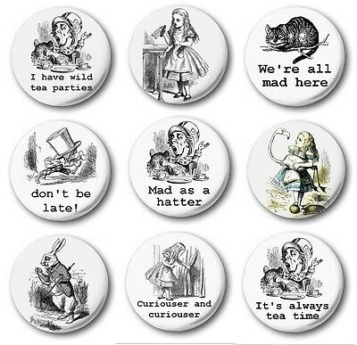 """ALICE IN WONDERLAND (Various Designs) - 1"""" / 25mm Button Badge - Cute Novelty"""