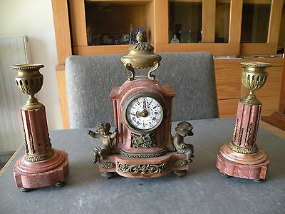 Rare trim with a clocks and its 19th Marble and Bronze candlesticks