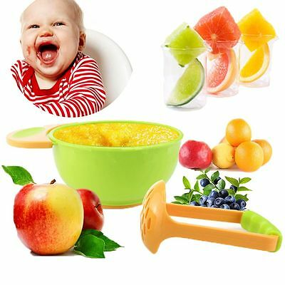 2pcs/set Supplement Kids Fruit Nursing Feeding Tool Baby Feeder Grinder Bowl