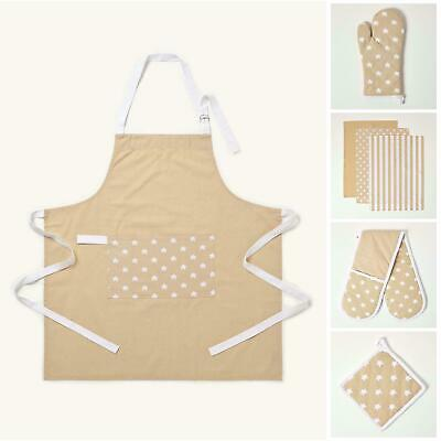 Cotton Beige And White Stars Kitchen Double Oven Gloves Apron Towel Pot Holder
