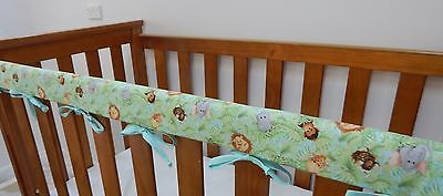 2 x Baby Cot Crib Rail Cover Teething Pad - Jungle Babies 100% Cotton SET OF TWO