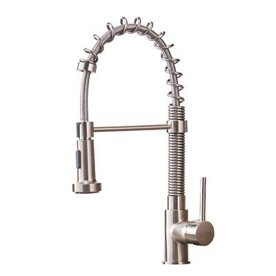 Brushed Nickel Single Handle Kitchen Faucet Dual Function Spring Basin Pull down