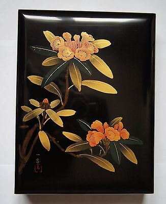 Authentic Japanese Wooden Lacquered Box by Ichiro