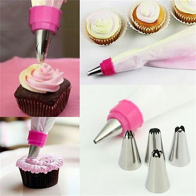 7 Pcs/set Nozzles Cake Decorating Tool Two Colors Converter Icing Piping Bag