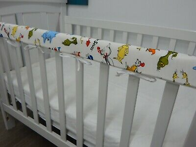 Cot Rail Cover Crib Teething Pad Dr Seuss Characters - White  SET OF TWO