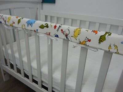 SET OF TWO Baby Cot Rail Cover Crib Teething Pad Dr Seuss Characters - White