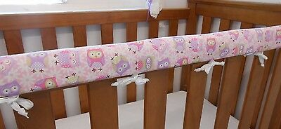 2 x Baby Cot Rail Cover Crib Teething Pad - Purple Pink Owls *REDUCED SET OF TWO