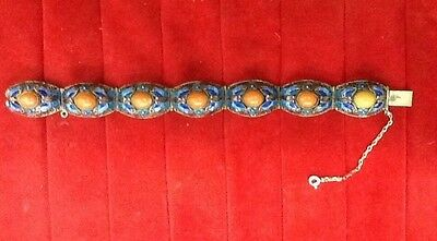 Antique Chinese Coral Silver Bracelet Enameled Butterflys  Filegree Deco 1910-20