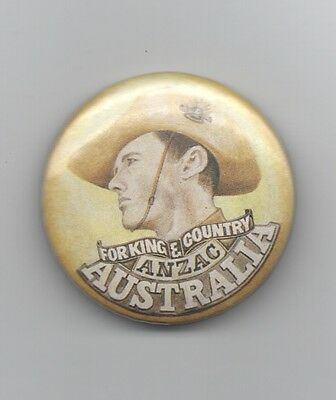 Australia-for King & Country Anzac- Tinny badge  38mms