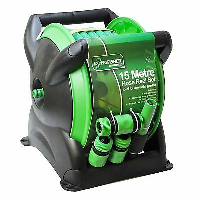15M Compact Wall Reel Set Garden Hose Pipe & Fittings Free Standing Mountable