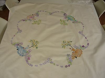 Very Pretty Vintage Embroidered Linen Square Tablecloth Crinoline Ladies