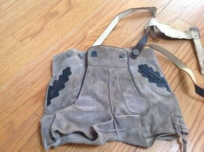 Lederhosen Vintage Beige/grey Suede Leather Trim  And Straps Youth