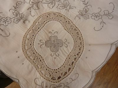 Large Vintage Cream Madeira Hand Embroidered Crochet Lace Inserts Tablecloth
