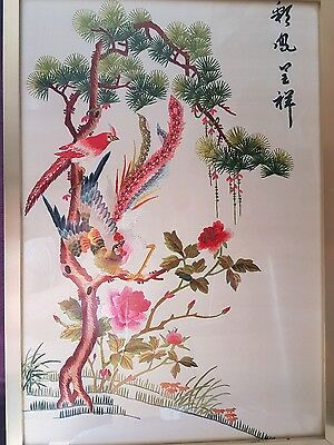 Chinese Antique Embroidered Birds Picture