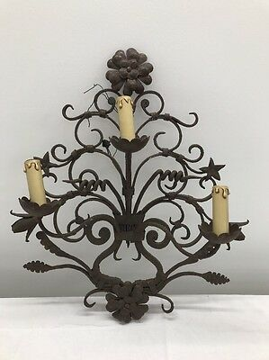 Antique Vintage French Wrought Iron Wall Light Medieval