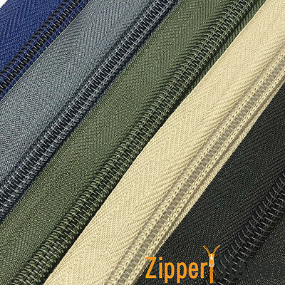 Continuous Zip Chain No 8 Weight - Upholstery N8 zipping - 1, 2, 5 or 10 meters