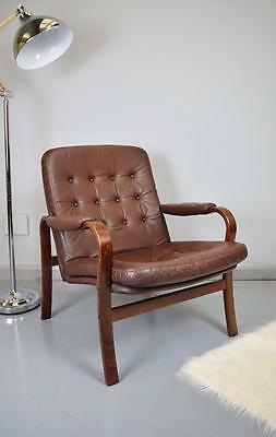 Danish Mid Century Retro Vintage Brown Leather Bentwood Lounge Arm Chair 1970s