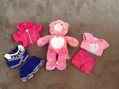 build a bear soft toy teddy multi coloured heart with clothes