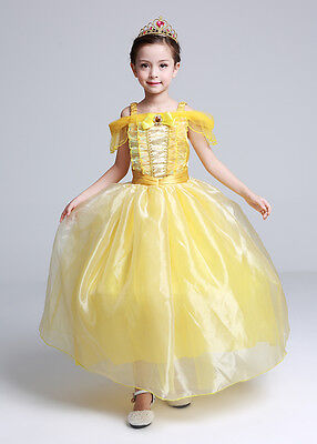 Kids Girl Princess Belle Beauty and the Beast Cosplay Costume Fancy Dress 6-7T