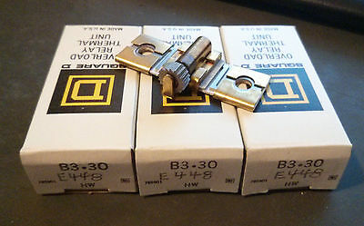 (LOT OF 3) Square D B3.30 Overload Relay Thermal Unit Heater *New in Box*