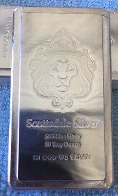 *10 oz Scottsdale STACKER Silver Bar - Ten Troy oz .999 Silver Bullion*