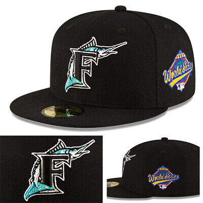 sports shoes 35b32 46c9c New Era MLB Florida Marlins Classic Black Fitted Hat World Series Side Patch  Cap