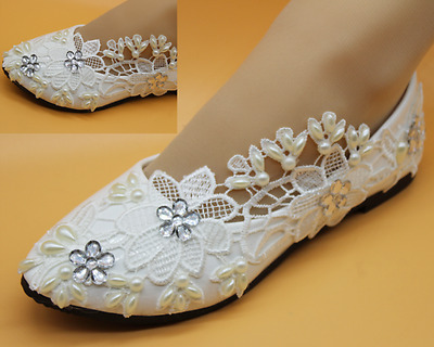 White Flats Ivory Lace Crystal Pearls Wedding Shoes Pumps