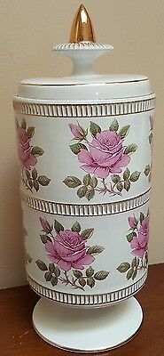 "Vintage 10.5"" Italian Pottery Apothecary Jar Gold Gilt & Pink Rose Decor Italy"
