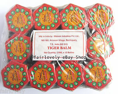 Pack of 12 Jars x 21ML Red Tiger Balm Muscle Pain Relief ( White Also Available)