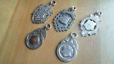 antique collection solid sterling silver pocket watch fobs..40gr