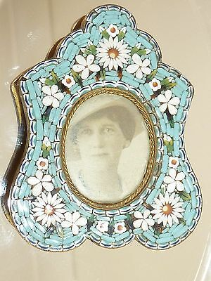 Antique Micro Mosaic Miniature Victorian Picture Frame Roses Daisy Flower Italy