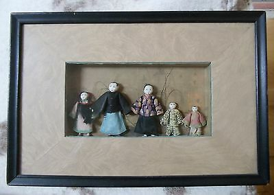 Antique Chinese Miniature Cloth Doll Family 5 Handmade Mission Dolls Shadow Box